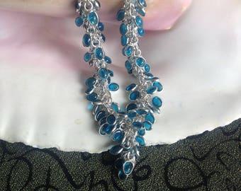 """Blue Topaz Necklace - Blue Topaz Vintage Necklace - Blue Topaz Piece Necklace - 17.5"""" Blue Topaz Piece Necklace - Topaz Necklace"""