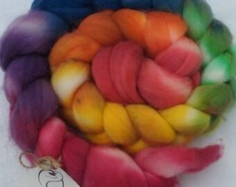 Superwash Merino Wool Braid, Full Rainbow, 3.9 oz, Red, Orange, Yellow, Green, Blue, Violet, For Spinning or Fiber Art Projects