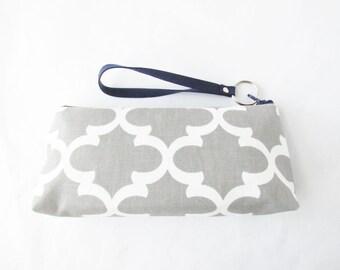 Slim Clutch Wristlet - Zip Wallet - Monogram Makeup Bag - Cosmetic Bag - Pencil Case - Bridesmaid Bags