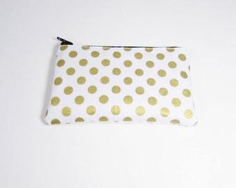 White & Gold Polka Dot Coin Purse - Ready to Ship - Coin Purse - Change Purse - Small Credit Card Wallet - Zip Money Bag