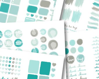 Let's Paint Sticker Book: Sky Blues PRINTABLE Sticker Kit -Instant Download, printable planner stickers