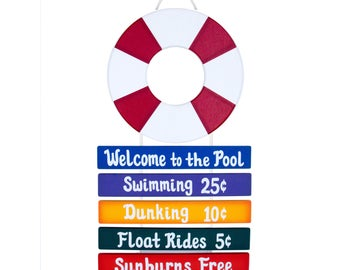 Outdoor Pool Sign - Welcome to the Pool Rope Sign - Life Ring