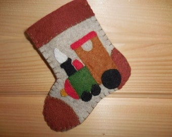 Mini Felted Stocking With Train