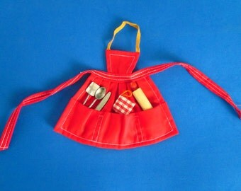Vintage Barbie Apron and Utensils (1962) hard to find Fashion Complete with Spatula Spoon Knife Potholder Rolling Pin All Excellent!