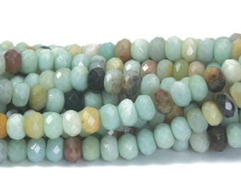 amazonite faceted rondelle beads - Chinese amazonite gemstone beads - amazonite gemstone jewelry beads - abacus stone beads - 15inch