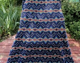 Swedish Weave on Black Monks Cloth-Huck Rainbow Colors Blanket-Throw-Afghan