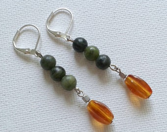 Green and brown earrings, green earrings, long earrings , autumn-toned earrings, fall earrings, jasper earrings
