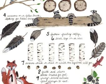 Educational Child's 1-10 Woodland Poem Print 11 x 14