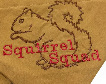 Squirrel Squad Chasing Squirrels Embroidered on Gold Dog Scarf Over the Collar Dog Bandana