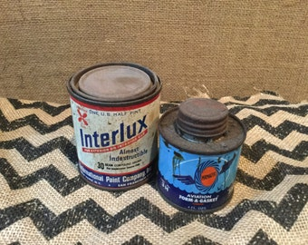 Vintage Interlux Paint  & Permatex Aviation Form-A-Gasket Can