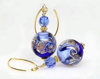 Cobalt, Blue, Gold, Venetian Murano Lampwork Glass Earrings, Artisan, Dangle, Drop Earrings