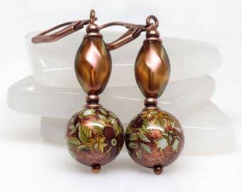 Copper Japanese Tensha Earrings, Rust, Floral, White Rose, Antique Copper Earrings, Light Weight Earrings, Gift For Her, Elandra Designs