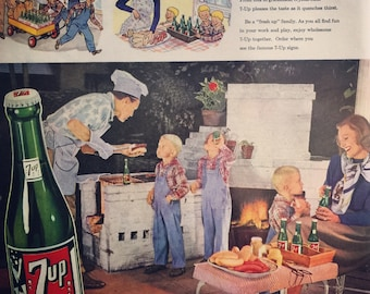 1947 7-Up ad, backyard banquet....family style.