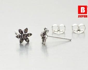 925 Sterling Silver Oxidized Earrings, Flower Earrings, Marcasite Earrings, Stud Earrings (Code : EG66)