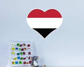 Heart Shaped National Flag of Yemen Vinyl Wall Art