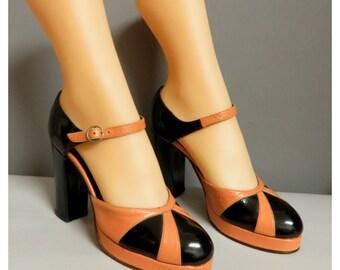 vintage  pump platform shoes  varnish black /salmon pink 36/37