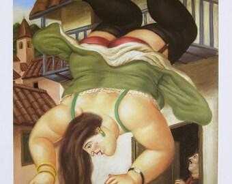 FERNANDO BOTERO - 'Mujer cayendo de un balcon' - limited edition offset lithograph - c1994 (important Columbian artist)