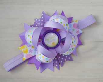 Ready to ship! First Easter headband, Babys 1st Easter bow, Easter headband head band, baby Easter hair bow, Newborn Easter headband bow