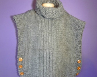 knitted poncho, grey knitted poncho, childs poncho, winter wear, child's winter clothes, grey childs pullover, knitted pullover