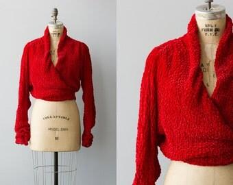 Scarlet jacket | Vintage 1930s ruched velvet evening jacket | Rare 30s coat