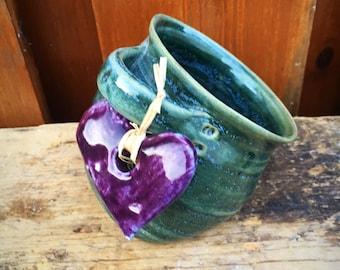 Salt Pig in Greeny Blue Glaze Purple Heart  Decorative Heart