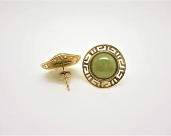 14 K gold jade earrings