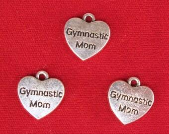 "BULK! 15pc ""Gymnastic mom"" charms in silver style (BC1175B)"