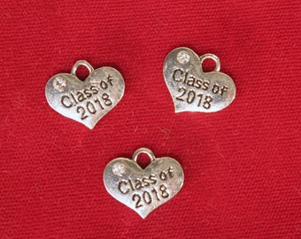 "BULK! 15pc ""Class of 2018"" charms in antique silver style (BC1200B)"