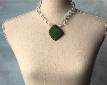 OOAK  Turquoise Slice Pendant and Quartz Statement Necklace