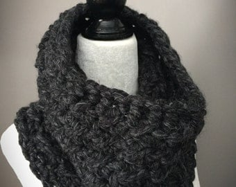 Adult Crochet Cowl/Adult Neck Warmer/Chunky Scarf/Charcoal