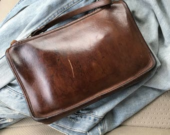 Vintage Chocolate Brown Leather Coach Bag