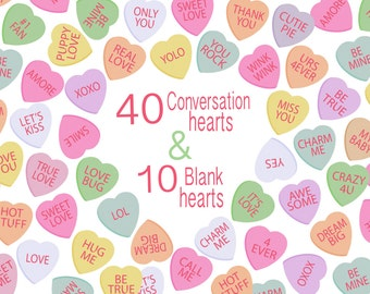 """Candy Hearts Clipart """"DIGITAL CANDY HEARTS"""" Conversation Hearts Candy Clipart great for Valentines Day cards, tags and stickers"""