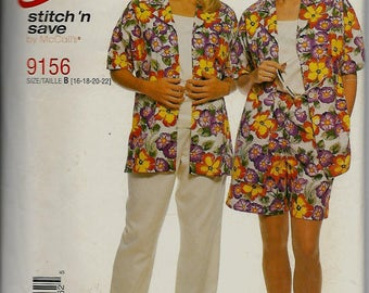 McCall's 9156      Misses Shirt, Top, Pull-on Pants and Shorts      Size 16-22