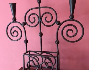 """Large heavy iron ,Candelabra,candlestick holder, scrolled iron,25.5"""" tall x 21.5"""" wide x 4"""" deep"""