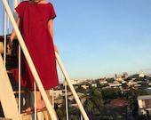 Wine red burgundy cotton linen look kimono sleeve dress - pleats, pockets, perfect for layering - mori girl/lagenlook