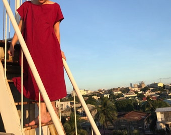 Wine red burgundy cotton linen look kimono sleeve dress - pleats, pockets, perfect for layering - mori girl/lagenlook 16/18/20