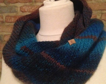Striped blue & brown scarf