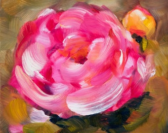 Pink Peony Oil Painting - Expressive Floral Paintings - Nature Art - Peony Paintings - 6x6 Original Art - Art for Gifts - Daily Paintings