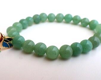 Aventurine bracelet woman, beaded bracelet woman. Healing stone bracelet Aventurine bracelet Charm bracelet Bird pendant bracelet