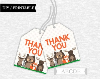 Instant Download Woodland Thank You tags, Woodland Favor tags Bear Deer Moose Fox Birthday party Baby shower DIY Printable (SWW201)