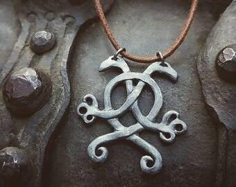 Hugin & Munin pendant / oxidized silver amulet.