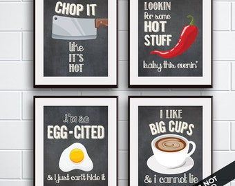 Chop it, Hot Stuff, Egg-Cited, Big Cups (Funny Kitchen Song Series) Set of 4 Art Prints (Featured in Vintage Chalkboard) Kitchen Art