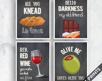 Knead Love, Hello Darkness, Red Wine, Olive You (Funny Kitchen Song Series) Set of 4 Art Prints (Featured in Vintage Chalkboard) Kitchen Art