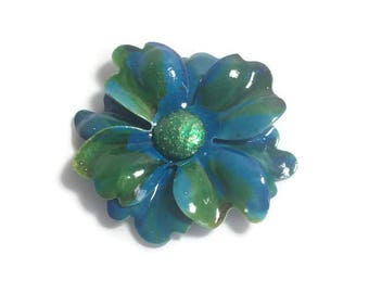 Vintage 1960s Flower Brooch, Huge Blue and Green Plastic Flower Brooch, Mod Flower Pin, Flower Power Brooch, Costume Jewelry
