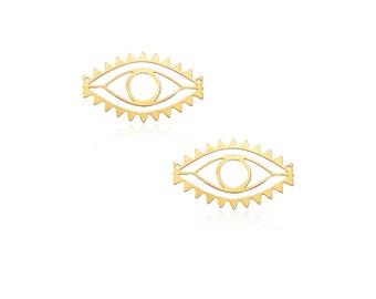Gold Eye Pendant, 2 Pcs, Oval Eye Connector, Geometric Connector,  Laser Cut Pendants, Trendy Jewelry, Wholesale Pendants, Evil Eye Jewelry