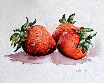 ORIGINAL Watercolor Strawberry Painting, Still Life, fruit Art, Kitchen Decor 6x8 Inch
