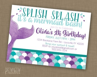 Mermaid Birthday Party Invitation // PRINTABLE // Under the Sea Party
