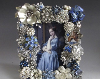 "Jeweled Picture Frame Sapphire Blue and Silver ""Woman in Blue"" Handcrafted from Vintage Jewelry"