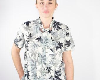 70s Vintage Marijuana Leaf Blouse | Short Sleeve Pot Leaf Top | Pussy Bow Blouse | Size Small