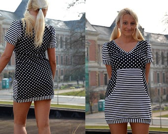 Mini dress Stretchkleid lane top black striped